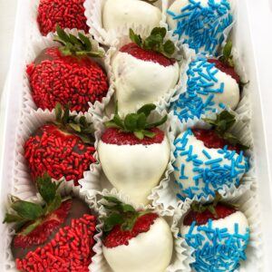 Gourmet chocolate red white and blue berries